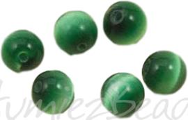 04229 Tijgeroog glaskraal Groen 8mm; gat 1mm 10 stuks