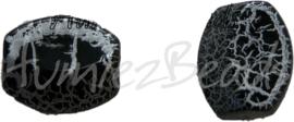 00275 Acrylkraal ovaal Zwart 20mmx24mmx10mm; gat 2mm 6 stuks