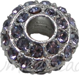 00593 Rondel Rhinestone Metaalkleurig / Lilac 8mmx16mm
