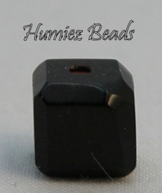 02725 Glaskraal vierkant facet geslepen Zwart 6mm 12 stuks