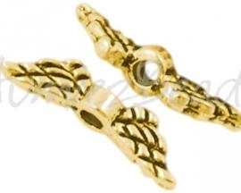 02659 Spacer vleugel Antiek goud (Nickel vrij) 12mmx3mm; gat 1,5mm