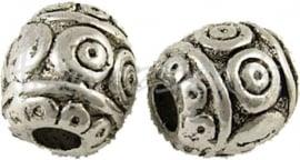02954 Metalenkraal cirkels Antiek zilver (Nikkelvrij) 6mm 11 stuks