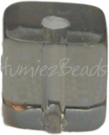 00032 Glaskraal vierkant Grijs 4mm 1 streng (±30cm)