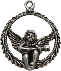 01817 Bedel engel rondje Antiek zilver (Nikkelvrij) 31mmx25mm
