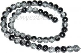 01947 Glaskraal crackle streng ±40cm Transparant-zwart 8mm 1 streng