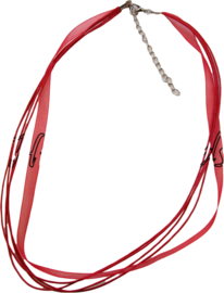 OL-0015 Organzalint met waxkoord Rood 1 ketting