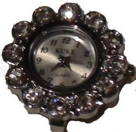 00649 Horloge bling Metaalkleurig/Chrystal  1 stuks