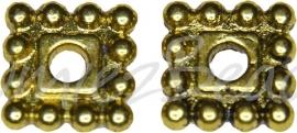 03754 Spacer daisy vierkant Antiek goud (Nikkelvrij) 7mmx7mmx2mm; gat 2mm 12 stuks