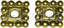 03754 Spacer daisy vierkant Antiek goud (Nickel vrij) 7mmx7mmx2mm; gat 2mm 12 stuks