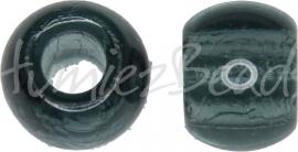 02694 Tsjechische glaskraal Grijsblauw 9mmx11,5mm; gat 4mm 5 stuks