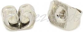 02085 Oorbelachterkantjes Metaalkleurig (Nikkel vrij) 5mmx4mmx3mm; gat 0,7~1mm 30 stuks