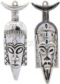 01267 Hanger Africaans masker Antiek zilver 73mmx26mmx8mm 1 stuks