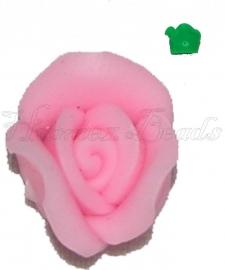 01806 Fimo kraal roosje Roze 10mmx6mm 6 stuks