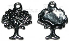 00730 Bedel tree of life Zwart (Nikkel vrij) 21mmx17mm