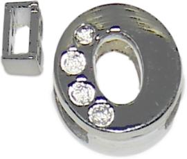 04250 Schuifkraal Letter O Metaalkleurig (Nikkelvrij) 9mmx9mm; gat 6,5mmx3,5mm 1 stuks
