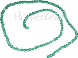 04001 Glaskraal imitatie swarovski Bicone streng ±40cm Emerald 4mm  1 streng