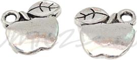02389 Bedel appel Antiek zilver (Nikkelvrij) 12mmx12,5mmx2,5mm; gat 2mm