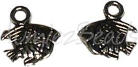 02005 Bedel vis Antiek zilver (Nickel vrij) 10mmx10mmx2mm; gat 2mm 11 stuks