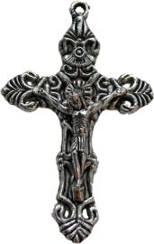 01807 Bedel kruis Jezus Antiek zilver (Nikkelvrij) 55mmx33mm 1 stuks