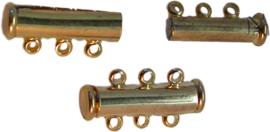 01402 Magneetschuifslot 3-rings Goudkleurig (Nikkelvrij) 20mm