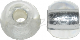 02689 Tsjechische glaskraal Transparant 9mmx11,5mm; gat 4mm 5 stuks