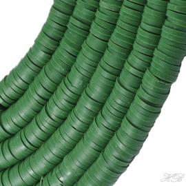 04557 Klei kralen streng ±20cm Katsumi /Heishi Donkergroen 6x1mm; gat 2mm 1 streng