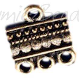 01517 Verdeler 1-3oogjes Goudkleurig (Nikkelvrij) 15mmx13mm 6 stuks