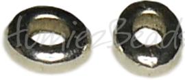 00756 Spacer ovaal donut Antiek zilver (Nikkel vrij) 3mmx7mmx8mm 12 stuks