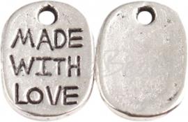 03846 Bedel made with love ovaal Antiek zilver (Nikkelvrij) 11mmx8mm  1 stuks