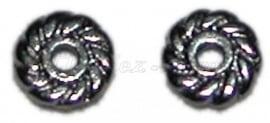 02105 Spacer wiel Zwart (Nickel vrij) 6mmx2mm; gat 1mm 20 stuks