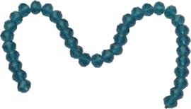 03433 Imitatie swarovski streng (±25cm) Groen-blauw 10mmx7mm 1 streng