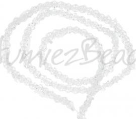 03987 Glaskraal imitatie swarovski Bicone streng ±40cm Transparant 4mm  1 streng
