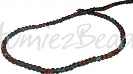 00007 Glasperle crackle strang ±40cm Blau/orange 4mm