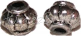 02079 Metallook kraal lampion Antiek zilver 8mmx9mm; gat 3mm 12 stuks