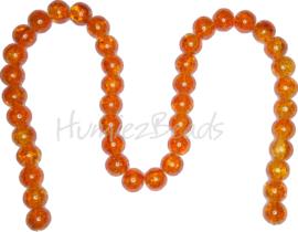 01389 Glaskraal crackle streng (±40cm) Oranje 10mm; gat 1,5mm 1 streng