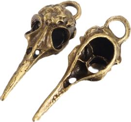 04432 Bedel Vogel schedel Antiek brons (Nikkelvrij) 41,5mmx14mmx11mm; Gat 5mmx4mm 1 stuks