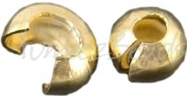 02294 Knijpkraal verberger Goudkleurig (Nickel vrij) 3mm ±30 stuks