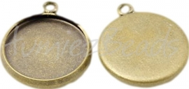 00775 Hanger cabochon setting Antiek brons (Nikkel vrij) 16mmx14mmx2mm; binnenzijde 14mm 1 stuks