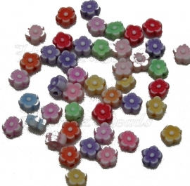 00295 Acrylkraal bloemetje Mix color 6mmx3,5mm 5 gram