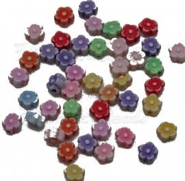 00295 Acrylperle blume Mix color 6mmx3,5mm 5 gramm