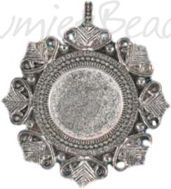 04202 Bedel Cabochon setting Antiek zilver (Nikkelvrij) 55mmx48mm; binnenzijde 20mm; oog 2,5mm 1 stuks