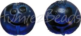 00344 Lampwork kraal handmade Lentil smiley Donker blauw 20mmx9mm 4 stuks