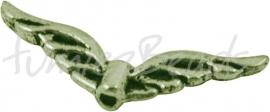 02409 Spacer vleugel Antiek brons (Nikkelvrij) 8mmx22mmx3mm; gat 1mm 7 stuks
