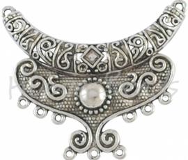 01000 Tussenstuk/verdeler ornament Antiek zilver (Nickel vrij) 64mmx40mmx7mm