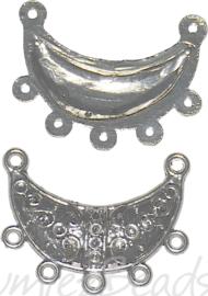 04154 Tussenstuk ornament Antiek zilver (Nikkelvrij) 30mmx25mmx2mm; oog 2mm 6 stuks