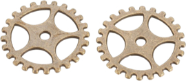 04434 Tussenstuk Tandwiel (Steampunk) Antiek brons (Nikkelvrij) 25mmx1mm; Gat 2mm 3 stuks