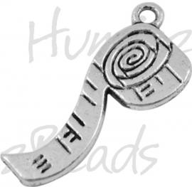 00588 Bedel meetlint Antiek zilver (Nikkel vrij)  27mmx10mm