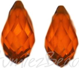 04355 Glaskraal druppel Donker oranje 10mmx20mm; gat 1mm 2 stuks