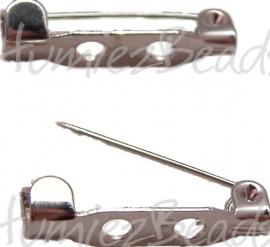 00399 Brochespeld 2-gaats Metaalkleurig (Nikkel vrij) 20x6x5mm 7 stuks