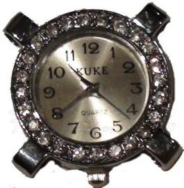 02328 Horloge bling Metaalkleurig/Chrystal  1 stuks